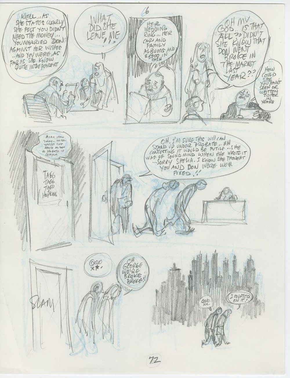 Will eisner original art cpn prelim p 72 pencil sketch collisions